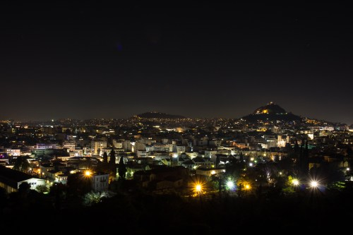 I went out to Mars hill at night and snapped a couple of photos of Athens at night.