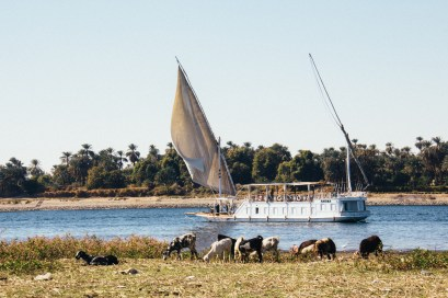 Another dahabiya from the banks of the nile. Caitlin taking more pictures.