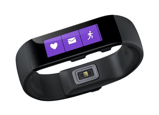 Microsoft presenta su primera pulsera inteligente - This product image provided by Microsoft shows the Microsoft Band. Microsoft is looking to challenge Apple and Google with its own system for consolidating health and fitness data from various fitness gadgets and mobile apps. The company is releasing the $199 band to work with this system. (AP Photo/Microsoft)