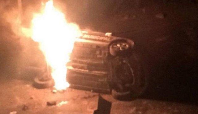 Incendian dos patrullas en Nicolás Romero por secuestro - Foto de Escuadrón Nicolás Romero
