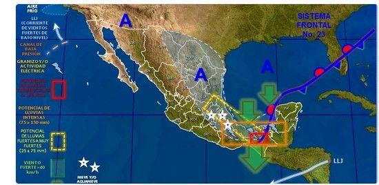 Masa de aire frío afecta al norte, noreste y centro del país - @conagua_clima