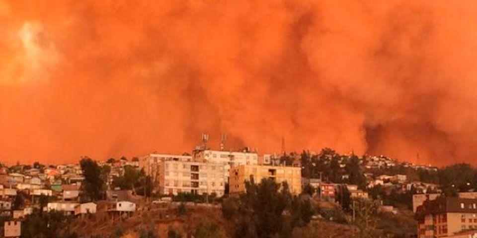 Alerta roja en Chile por incendio - Alerta roja en Chile por incendio