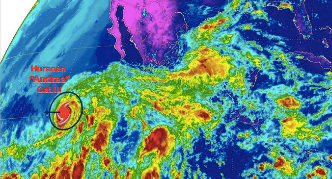 Huracán Andrés ya es categoría 3 - Foto de CONAGUA