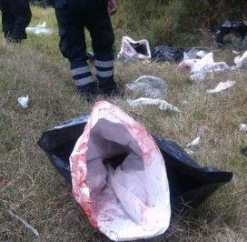 Bolsa con restos humanos- Foto de Twitter@vulcano_7