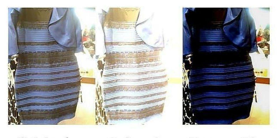 Explicación científica del vestido azul y negro - Foto de Archivo