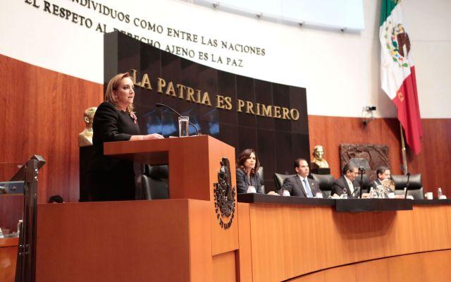 Critican senadores visita de Donald Trump en comparecencia de Ruiz Massieu - Foto de Senado de la República.