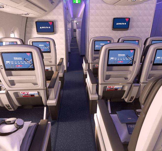 Los asientos de la nueva sección en los aviones de Delta. Foto de Facebook