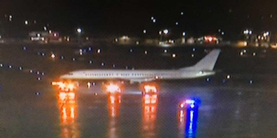 Derrapa avión del Miami Heat tras aterrizaje - Foto de @WISN_Watson