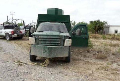 Aseguran camioneta con blindaje artesanal en Tamaulipas - Foto de la SSP Tamaulipas