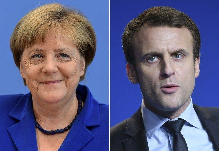 Macron visitará a Merkel en su primer día como presidente - Foto de AFP/Tobias SCHWARZ y Jean-François MONIER