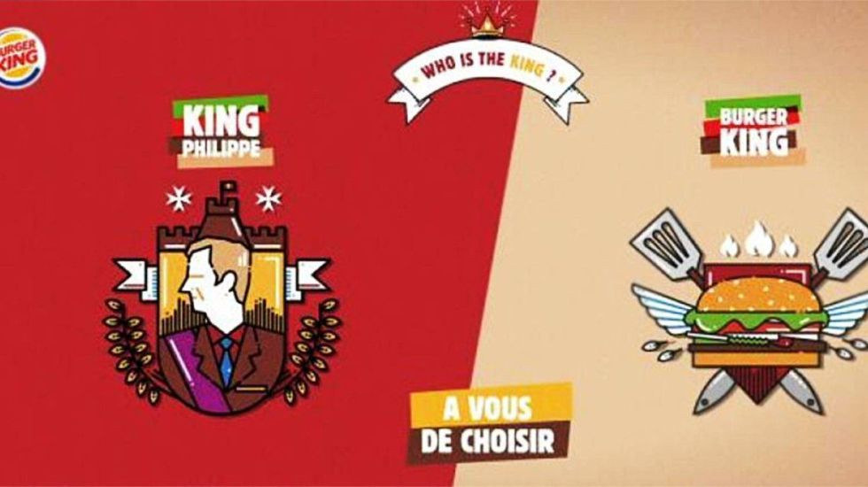 Burger King retira campaña publicitaria con rey belga - Foto de @BurgerKingBE_FR