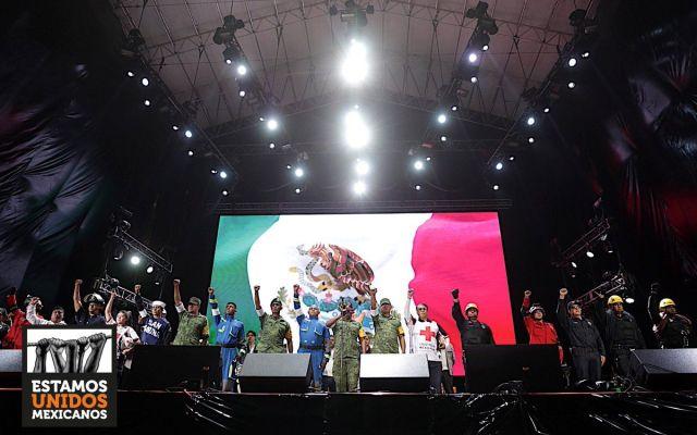 Rinden homenaje a víctimas del sismo en 'Estamos Unidos Mexicanos'
