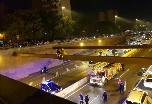 Bomberos rescatan a mujer a ocho metros de altura - Foto de ABC