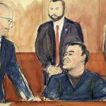 Juicio de El Chapo revela corrupción entre autoridades mexicanas - Dibujo de El Chapo compareciendo. Foto de AP