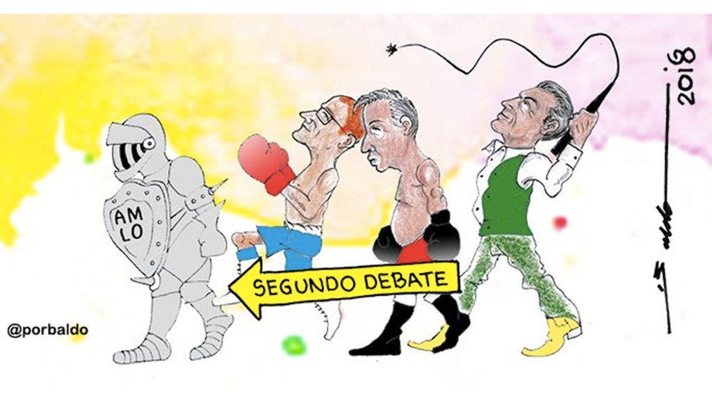 Cuatro cartones que ilustran el segundo debate presidencial