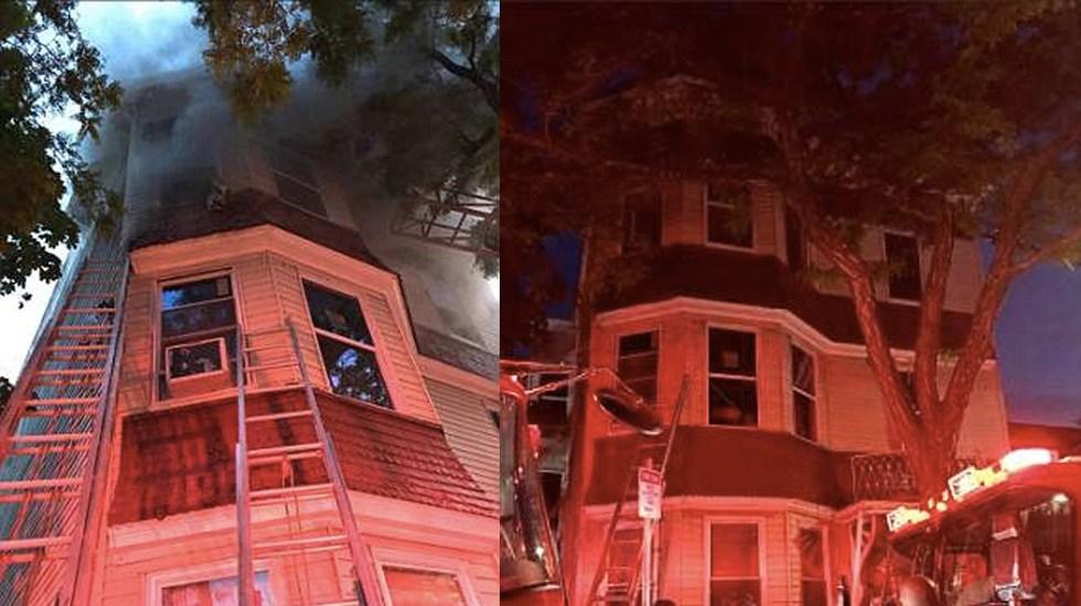 Rescatan a mujer y a su hijo de departamento en llamas en Boston - Foto de WBTS 10