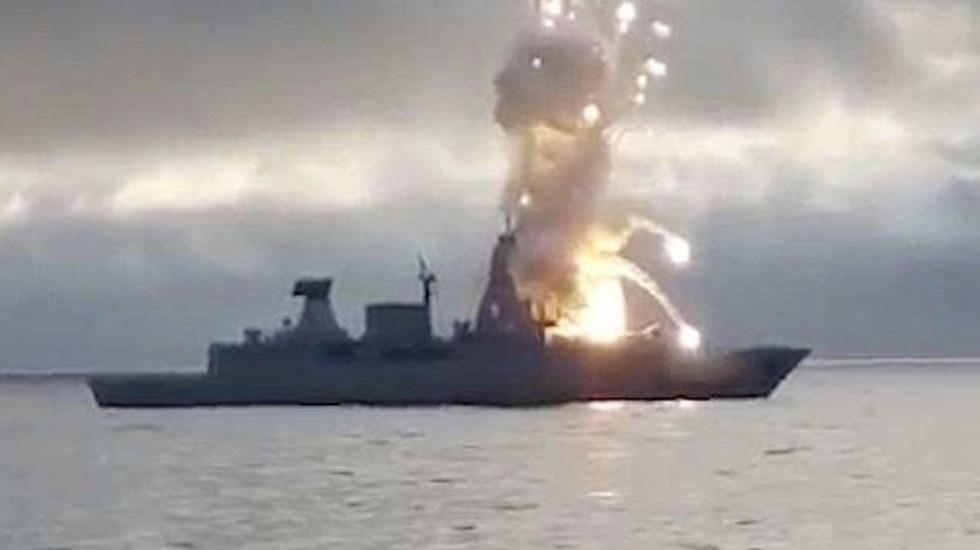 #Video Misil explota durante lanzamiento en buque alemán - Captura de pantalla