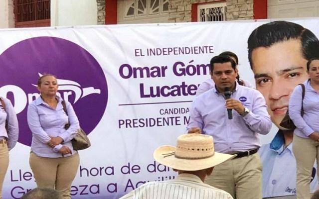Políticos de Michoacán repudian homicidio de Omar Gómez - Omar Gómez Lucatero en acto proselitista. Foto de internet