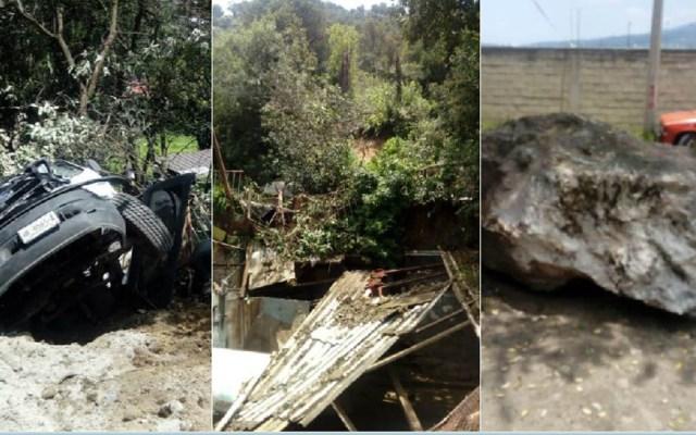 Deslizamiento de tierra deja dos lesionados en Tlalpan - Foto de @tritonazteca11