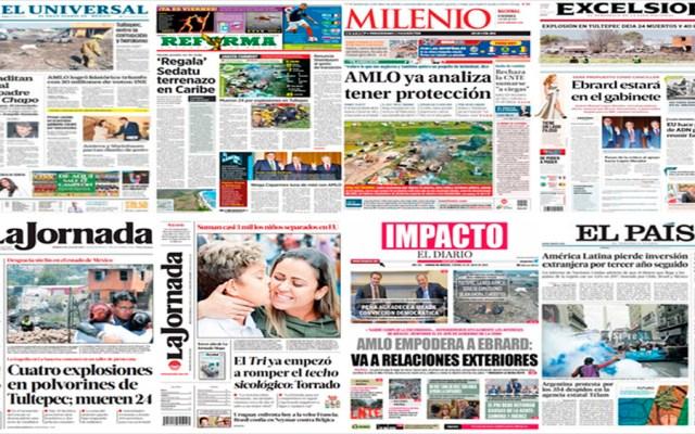 AMLO, Ebrard y Tultepec en primeras planas