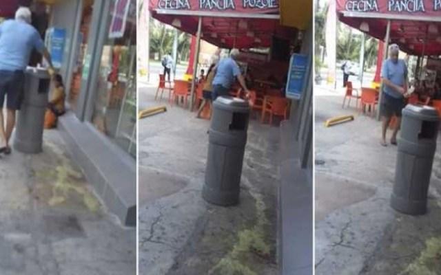 #Video Turista rocía ácido en banqueta para ahuyentar a indígena - Foto Captura de Pantalla