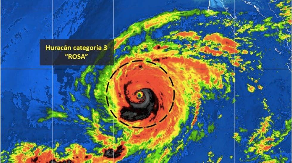 Huracán Rosa se degrada a categoría 3 - El Huracán Rosa ahora es categoría 3. Foto de Conagua