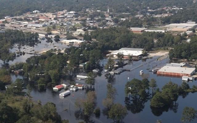 Imágenes satelitales muestran daños de Florence en Carolina del Norte - Ciudad de Lumberton. Foto de Getty Images