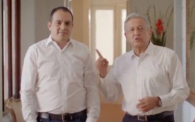 Cuauhtémoc Blanco recibirá este jueves a AMLO en Morelos - AMLO promoviendo candidatura de Blanco en spot. Captura de pantalla