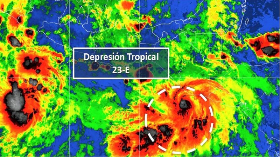 Se forma la depresión tropical 23-E en Chiapas - Depresión tropical 23-E. Foto de Conagua