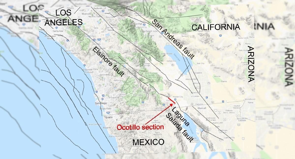 Mapa de la falla geológica detectada por la NASA. Foto de @NASAJPL