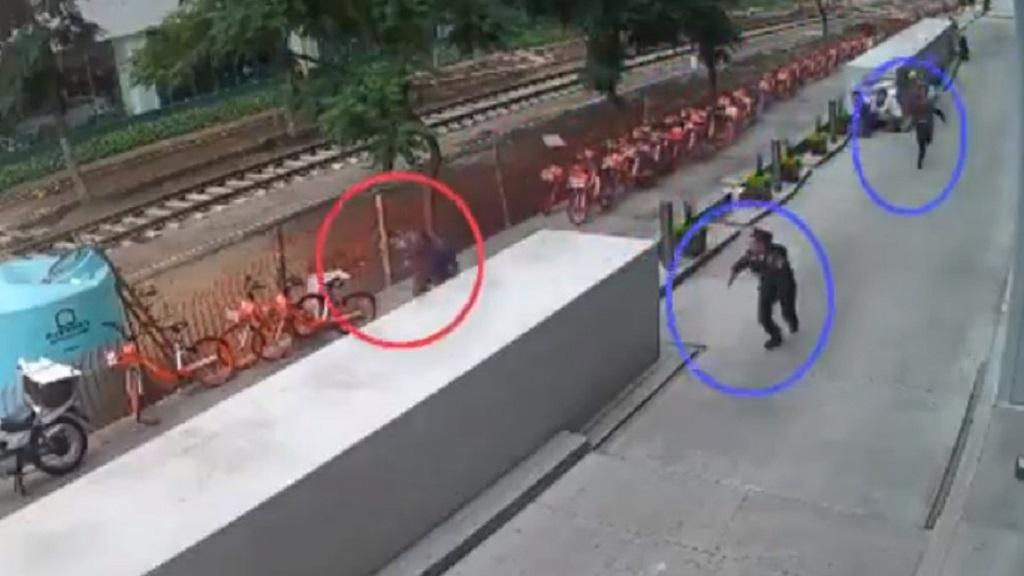 #Video Así se desató la balacera en alrededores de Plaza Carso - Balacera en inmediaciones de Plaza Carso, Polanco. Captura de pantalla