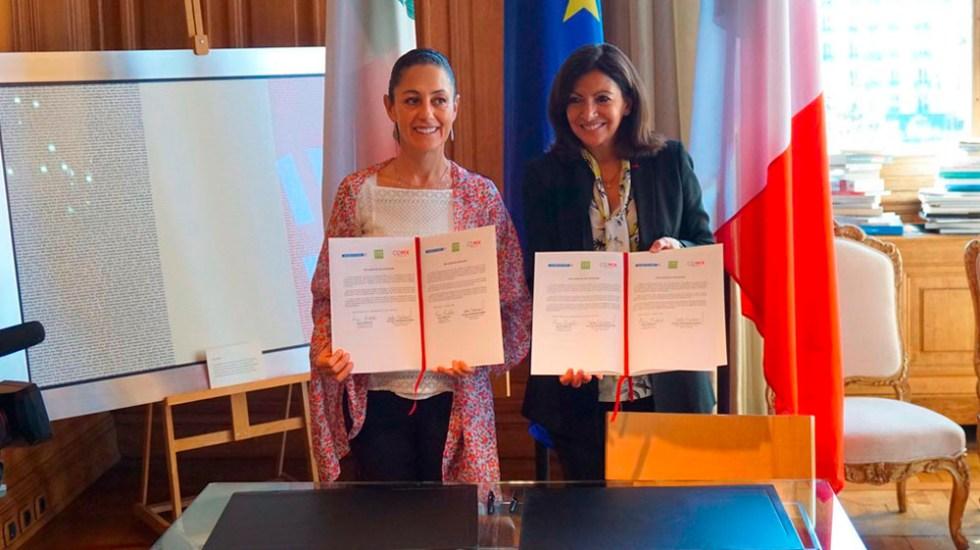 Sheinbaum firma acuerdo con alcaldesa de París - Foto de @Claudiashein