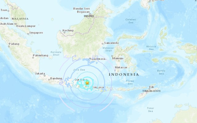 Java y Bali sufren sismo magnitud 6 - Foto de USGS