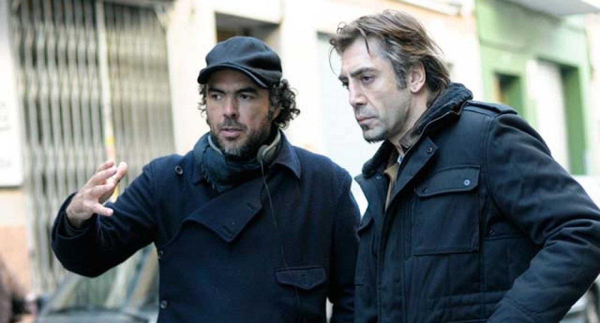 Alejandro González Iñárritu con Javier Bardem en rodaje de Biutiful. Foto de Internet
