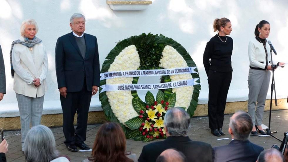 AMLO monta guardia de honor en memoria de Madero y Pino Suárez - Foto de Milenio