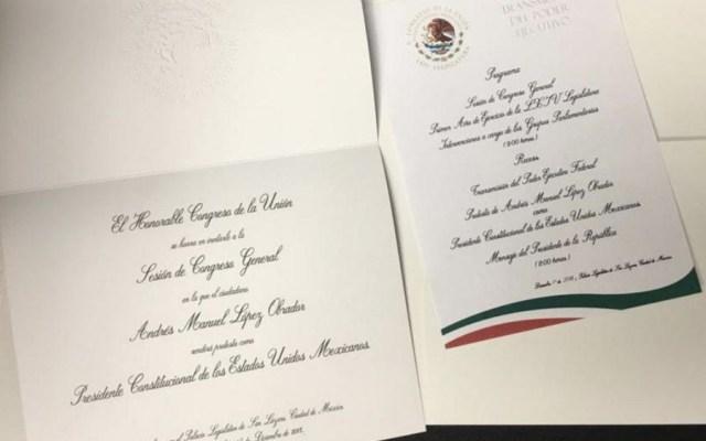 Así son las invitaciones para toma de posesión de AMLO - Foto de Milenio