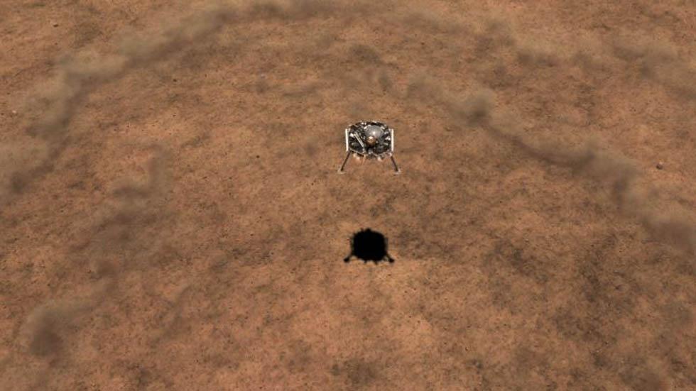 Simulación de aterrizaje del InSight en Marte. Foto de JLP / NASA