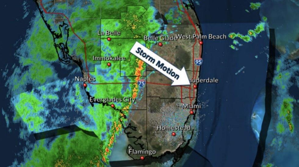 Vigilancia de tormentas severas para una parte de Miami - Foto de @NWSMiami