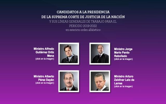 Anuncian a los candidatos a la presidencia de la SCJN