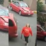 #Video Mujer armada con tubo destroza auto en Azcapotzalco