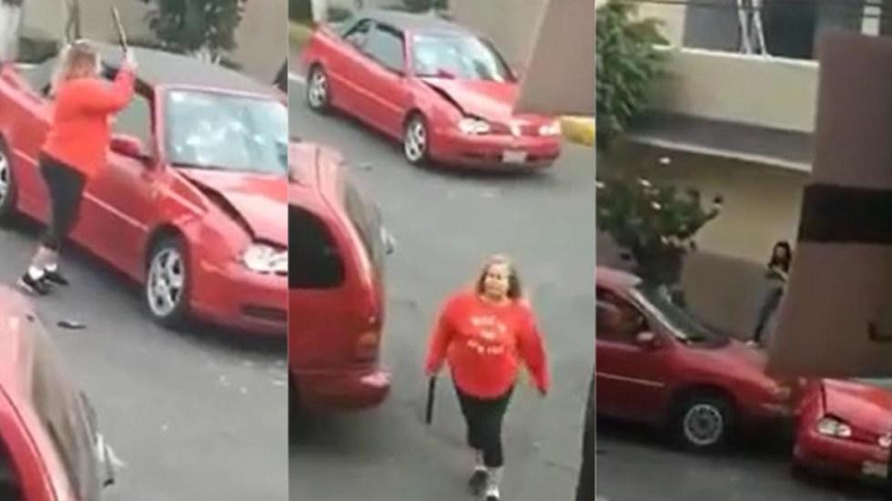 #Video Mujer armada con tubo destroza auto en Azcapotzalco - Hasta el momento, la mujer agresora en Azcapotzalco no ha sido identificada. Captura de pantalla