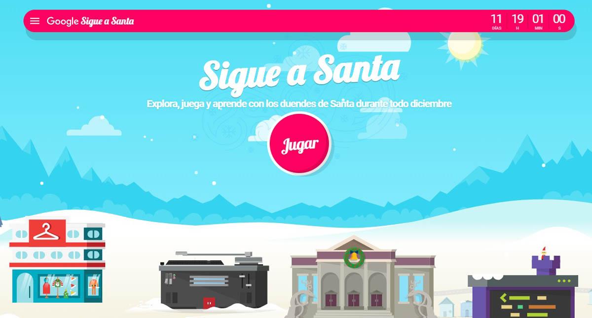 Página de inicio de Sigue a Santa. Captura de pantalla