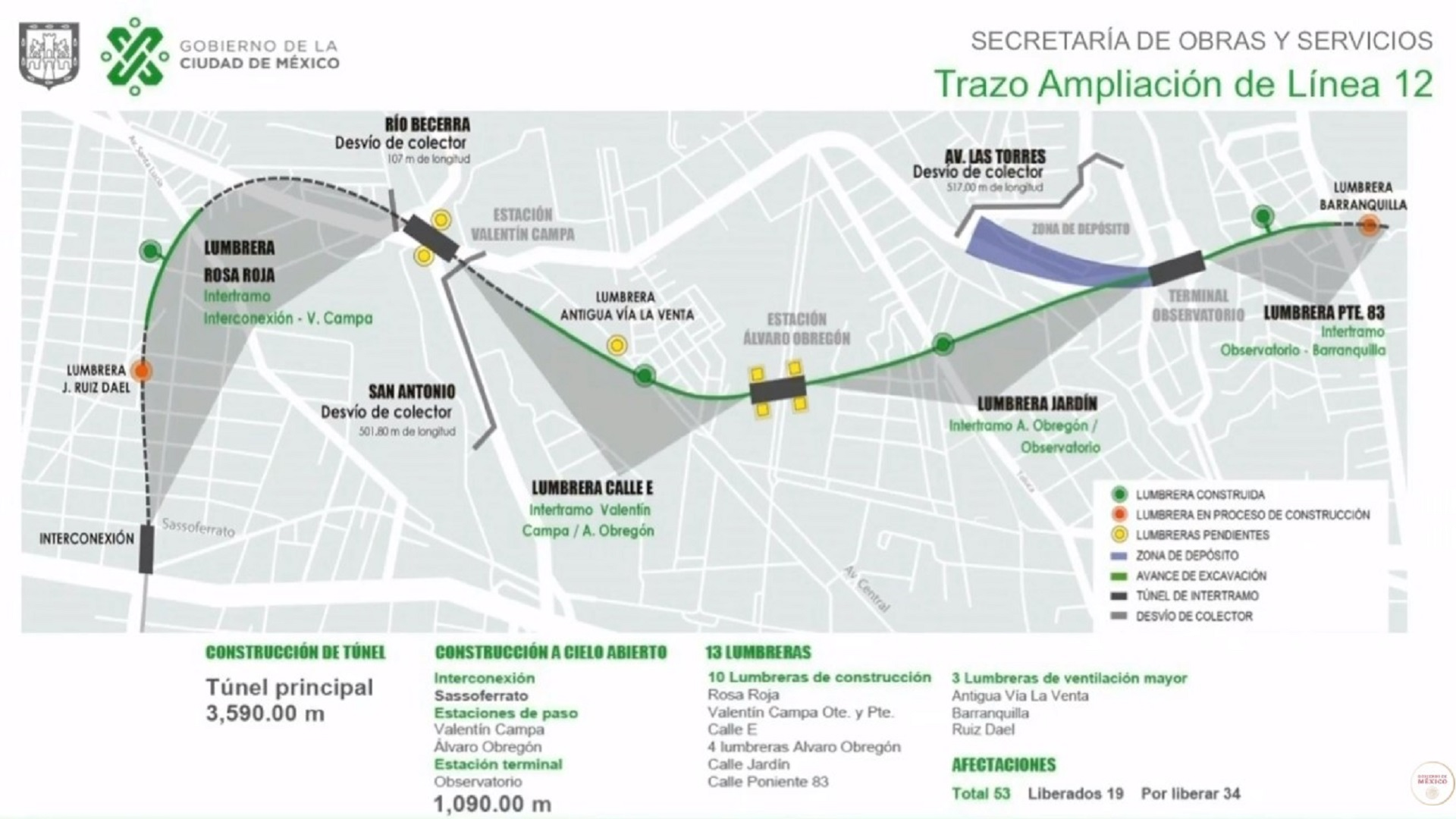 Trazo de ampliación de la L12 del Metro. Captura de pantalla