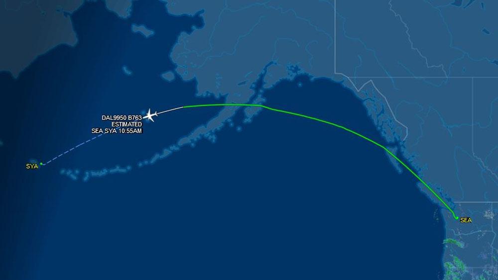 Vuelo de Delta que iba a Seattle termina en isla de Alaska - Foto de FlightAware
