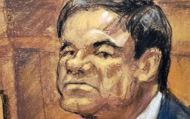 Aún no hay veredicto en el juicio contra 'el Chapo' Guzmán - Dibujo de El Chapo durante juicio. Foto de EFE