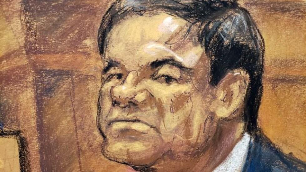 Hay evidencias que demuestran que El Chapo es culpable - Dibujo de El Chapo durante juicio. Foto de EFE