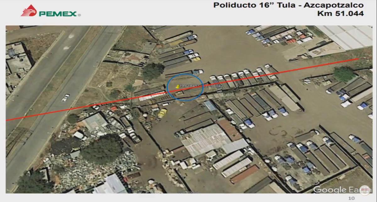 Toma clandestina en el ducto Tula-Azcapotzalco. Captura de pantalla