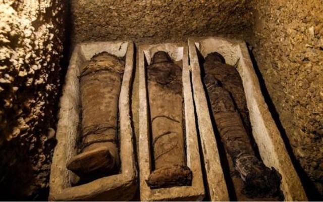 Hallan tumba con más de 40 momias en Egipto - Algunos de los cuerpos yacían en sarcófagos de piedra. Foto de AFP