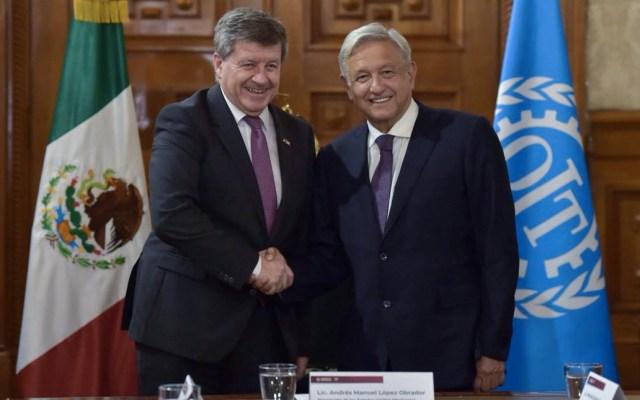 AMLO se reúne con titular de la OIT - López Obrador y Guy Ryder. Foto de Twitter