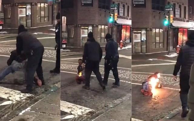 #Video Hombre se incendia tras descarga eléctrica con arma - Ataque con teaser. Captura de pantalla